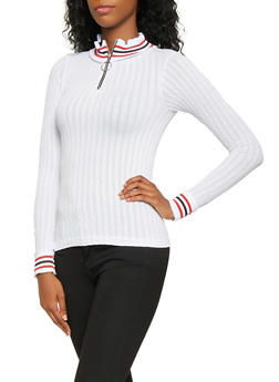 Striped Knit Trim Zip Neck Top - 3034038343012
