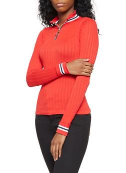 Striped Knit Trim Zip Neck Top - 3034038343012