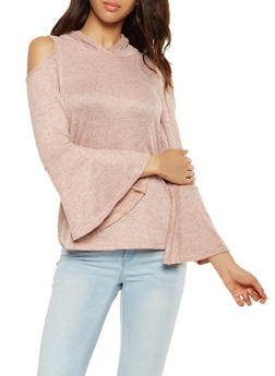 Hooded Cold Shoulder Top - 3034038343094