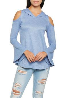 Hooded Cold Shoulder Top - 3034038343094