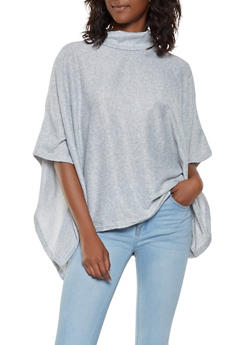 Mock Neck Knit Poncho - GRAY - 3034038343107