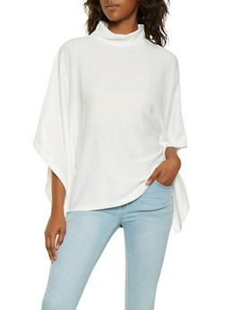 Mock Neck Knit Poncho - IVORY - 3034038343107