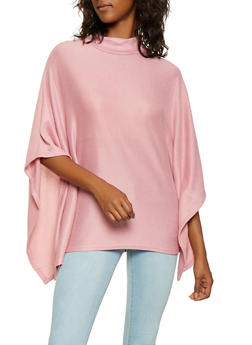 Mock Neck Knit Poncho - MAUVE - 3034038343107
