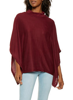 Mock Neck Knit Poncho - WINE - 3034038343107