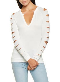 Slashed Sleeve Sweater - 3034038343128