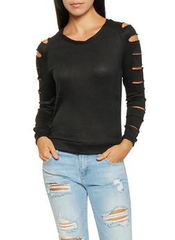 Slashed Sleeve Sweater - 3034038343130