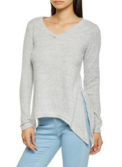 Asymmetrical Rib Knit Sweater - 3034038343194