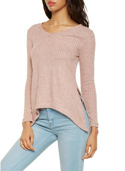Asymmetrical Rib Knit Sweater - 3034038343194