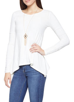 Ruched Sleeve Sharkbite Hem Top with Necklace - 3034038343202