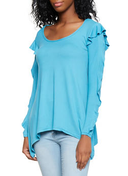 Ruffle Sleeve Sharkbite Hem Top - 3034038343206