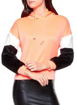 Faux Fur Sleeve Hooded Sweatshirt - 3034038343491