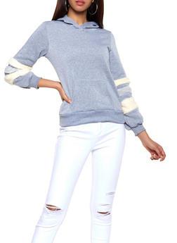 Faux Fur Sleeve Sweatshirt - 3034038343492
