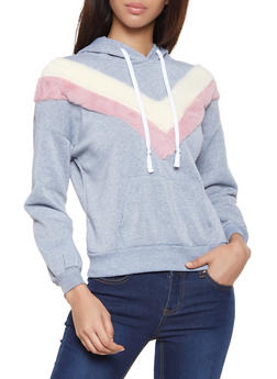 Faux Fur Chevron Detail Hooded Sweatshirt - 3034038343493