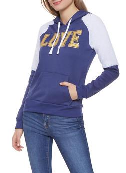 Love Graphic Sherpa Trim Sweatshirt - 3034038343495