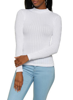 Cable Knit Mock Neck Top - 3034038344003