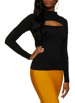 Cut Out Mock Neck Sweater - 3034038344006