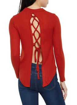 Waffle Knit Lace Up Back Top - 3034038344203