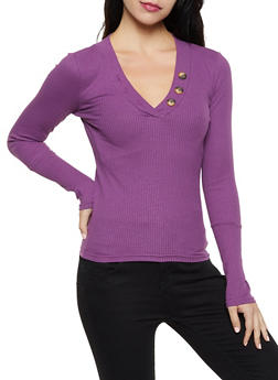 Long Sleeve Button V Neck Top - 3034038344231