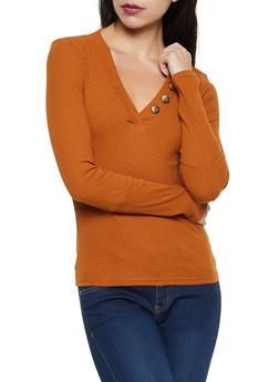 Long Sleeve Button V Neck Top - 3034038344231
