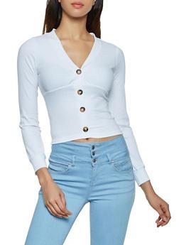 Rib Knit Button Top - 3034038344234