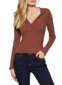 Hooded Rib Knit Button Top - 3034038344238