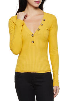 Ribbed Long Sleeve Button Detail Top - 3034038344240