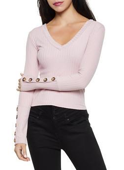 Rib Knit Long Sleeve Top - 3034038344243