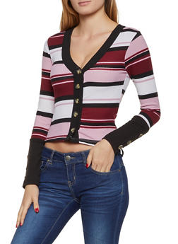 Striped Rib Knit Button Front Sweater - 3034038344250
