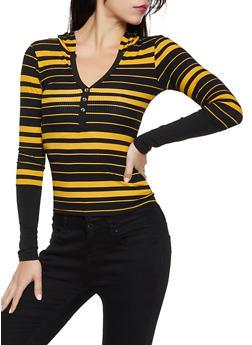 Hooded Rib Knit Striped Top - 3034038344252