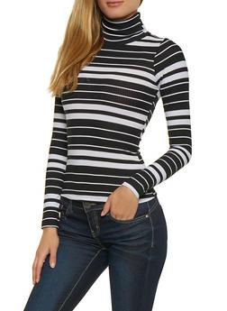 Striped Lightweight Turtleneck Sweater - 3034038344253