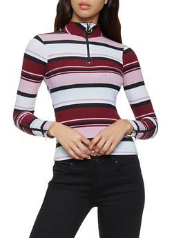 Zipper Detail Striped Top - 3034038344257