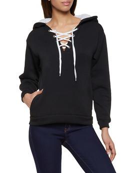 Sherpa Lined Lace Up Sweatshirt - 3034038344412