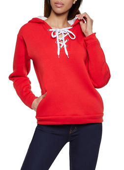 Sherpa Lined Lace Up Sweatshirt - 3034038344412