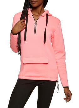 Zip Neck Hooded Sweatshirt - 3034038344414