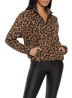 Printed Fleece Zip Sweatshirt - BROWN - 3034051060193
