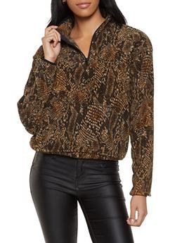 Printed Fleece Zip Sweatshirt - 3034051060193