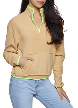 Printed Fleece Zip Sweatshirt - KHAKI - 3034051060193