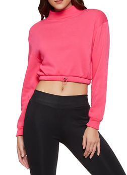 Mock Neck Cropped Fleece Sweatshirt - 3034051060229
