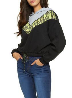 Chevron Snake Print Hooded Sweatshirt - 3034051060232