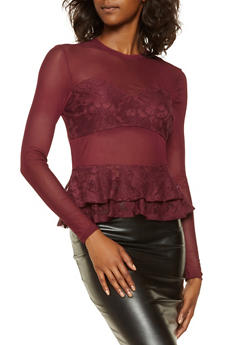 Lace Detail Mesh Peplum Top - 3034051060319