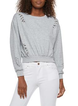 Distressed Cropped Sweatshirt - 3034051069685