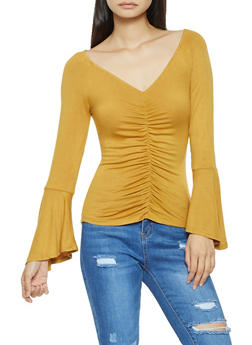 Ruched Bell Sleeve Top - 3034054260671
