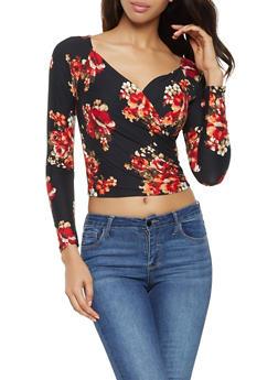 Floral Faux Wrap Crop Top - 3034054260672
