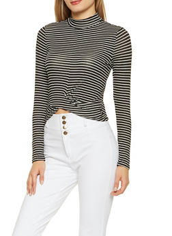 Striped Twist Front Top - IVORY - 3034054260696
