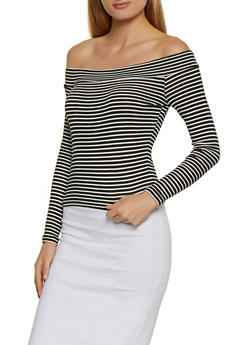 Striped Off the Shoulder Rib Knit Top - 3034054261172