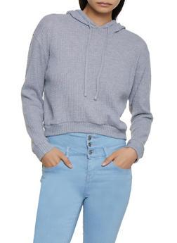 Waffle Knit Hooded Sweater - 3034054261237