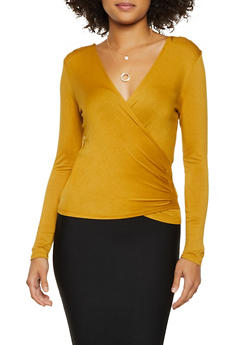Faux Wrap Long Sleeve Top - 3034054261282