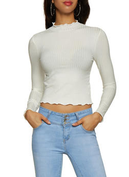 Lettuce Edge Mock Neck Top - 3034054261314