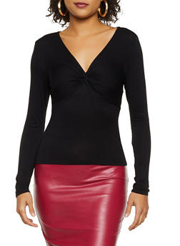 Twist V Neck Long Sleeve Top - 3034054261505