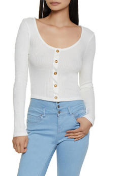 Waffle Knit Scoop Neck Top - 3034054261640